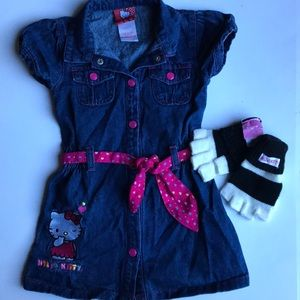 Hello kitty denim dress size 5 +gloves